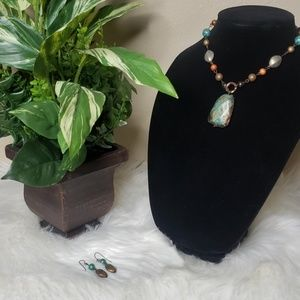 Necklace | Teal and Brown